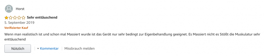 Evieun Deep Tissue Massage Gun Massagepistole Erfahrung von Horst